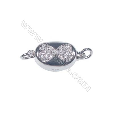 Wholesale oval platinum plated 925 sterling silver box clasps connectors for Pearl Jewelry Making-841098 x 1pc 6x8x16mm