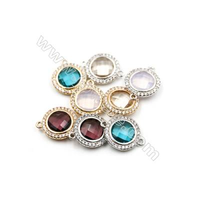 14mm  Faceted Glass Connector, Round, Gold and Silver Plated Brass, Hole 1mm, 15pcs/pack