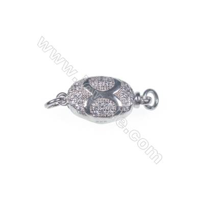 Wholesale oval platinum plated 925 sterling silver box clasps connectors for Pearl Jewelry Making-841086 x 1pc 5x8x16mm