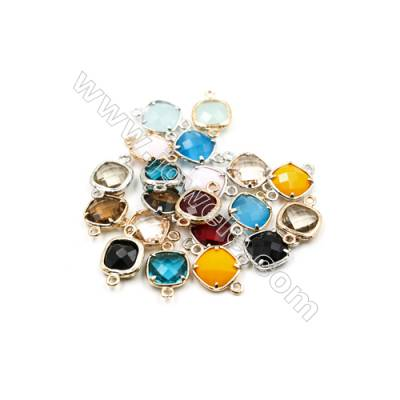 13x13mm  Faceted Glass Connector, Square, Gold and Silver Plated Brass, Hole 1mm, 40pcs/pack