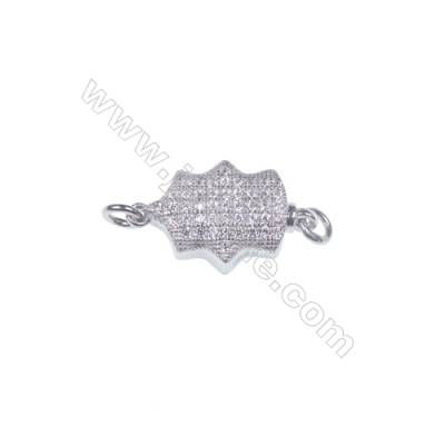 Wholesale oval platinum plated 925 sterling silver box clasps connectors for Pearl Jewelry Making-83863 x 1pc 5x7x17mm