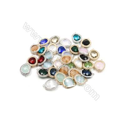 16x18mm  Faceted glass Connector, Gold and Silver Plated Brass, Hole 1mm, 10pcs/pack