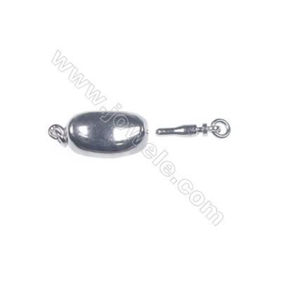 Wholesale oval platinum plated 925 sterling silver box clasps connectors for Pearl Jewelry Making-83757 x 1pc 6x8x18mm