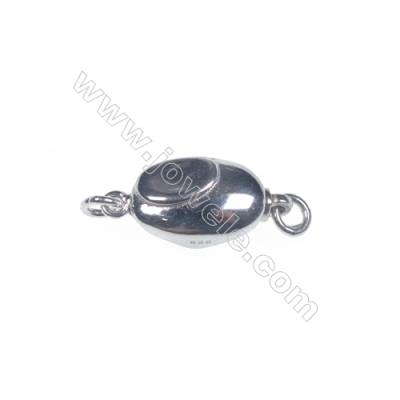 Smooth oval platinum plated 925 sterling silver box clasps connectors for Pearl Jewelry Making-83651 x 1pc 5x8x16mm