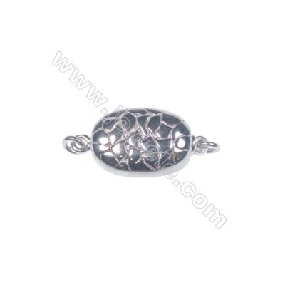 Wholesale oval platinum plated 925 sterling silver box clasps connectors for Pearl Jewelry Making-841151 x 1pc 6x10x20mm