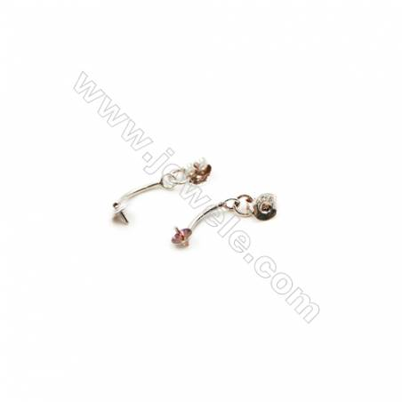 925 Sterling Silver Earring Findings  Size 15mm  Tray 4mm  Pin 0.6mm  40pcs/pack