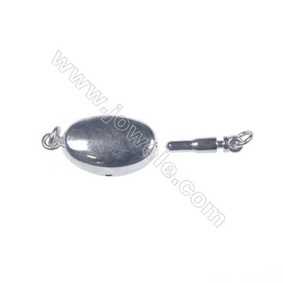 Necklace connector platinum plated 925 sterling silver oval box clasps connectors for Pearl Jewelry Making-841101 x 1pc 6x9x19mm