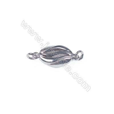 Necklace connector platinum plated 925 sterling silver oval box clasps connectors for Pearl Jewelry Making-83625 x 1pc 5x7x16mm