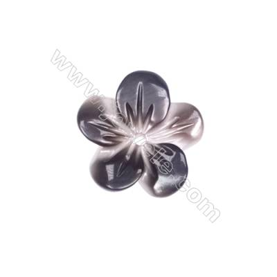 Five leaves flower designed shell, grey mother-of-pearl, 10mm, hole 0.9mm, 40pcs/pack