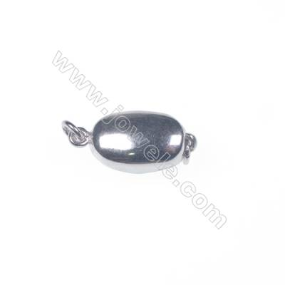 Jewelry connector platinum plated 925 sterling silver oval box clasps connectors for Pearl Jewelry Making-83758 x 1pc 5x7x15mm