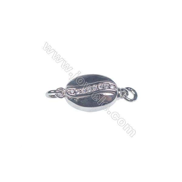 Jewelry connector platinum plated 925 sterling silver oval box clasps connectors for Pearl Jewelry Making-841163 x 1pc 6x8x16mm