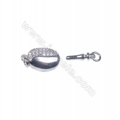 Platinum plated 925 sterling silver oval box clasps connectors for Pearl Jewelry Making-83844 x 1pc 5x8x16mm