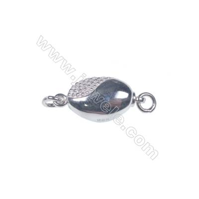 Platinum plated 925 sterling silver oval box clasps connectors for Pearl Jewelry Making-83742 x 1pc 5x8x16mm