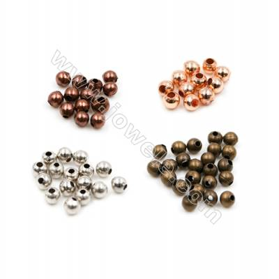 Brass Round Beads, Rack Plating, Size 2mm, Hole 0.6mm, 2500pcs/pack(Gold, Rhodium, Silver, Bronzer, Red bronze, Rose Gold)