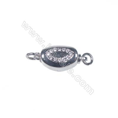 2016 popular silver platinum plated zircon box clasps tab clasp for jewelry making-83849 x 1pc 5x7x15mm