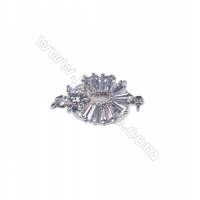 2016 popular silver zircon box clasps tab clasp for jewelry making-841148 x 1pc 8x11x19mm