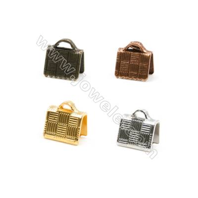 Brass Ribbon Ends  Plated  Size 6x7mm  Hole 1x1.5mm  800pcs/pack( Gold  Rhodium  Silver Copper  Dark Copper)