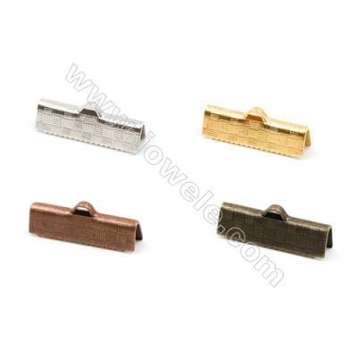 Brass Ribbon Ends  Plated  Size 5.5x20mm  Hole 1.5x3mm  400pcs/pack( Gold  Rhodium  Silver Copper  Dark Copper)