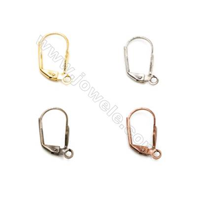 Brass Earring Hook  Plated  Size 9.5x17.4mm  Pin 0.8mm  Hole 3mm  150pcs/pack