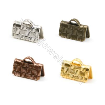 Brass Ribbon Ends  Plated  Size 5.5x10mm  Hole 1x1.5mm  800pcs/pack( Gold  Rhodium  Silver Copper  Dark Copper)