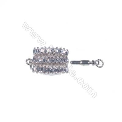 Fancy sterling silver zircon box clasps tab clasp for jewelry making-841149 x 1pc 7x11x19mm