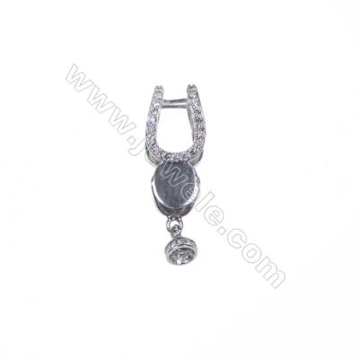 Fancy jewelry sterling silver zircon clip clasps for pendant making-841165 x 1pc 9x25mm