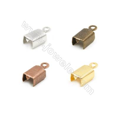 Brass Ribbon Ends  Plated  Size 6x8mm  Hole 1.5mm  1200pcs/pack( Gold  Rhodium  Silver Copper  Dark Copper)