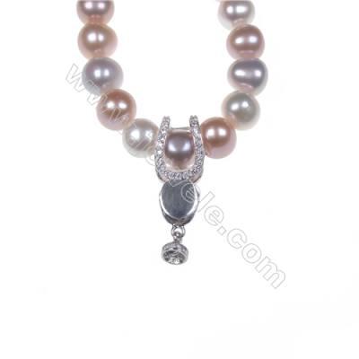 Fancy jewelry sterling silver zircon clip clasps for pendant making-841165 x 1pc 9x25mm