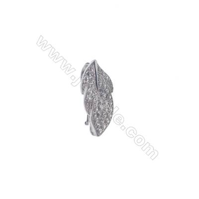 Wholesale sterling silver zircon clip clasps for jewelry making-83831 x 1pc 11x23mm