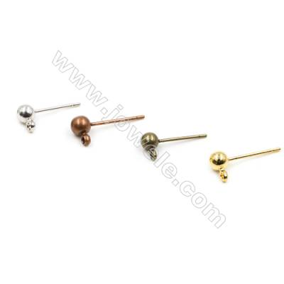 Brass Ear Stud  Plated  Size 10.8mm  Pin 0.7mm  Hole 2mm  200pcs/pack  (gold  rhodium  silver  copper  dark copper)