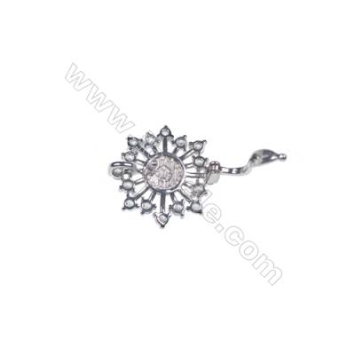 Wholesale sterling silver zircon clip clasps for jewelry making-841173 x 1pc 20x20mm