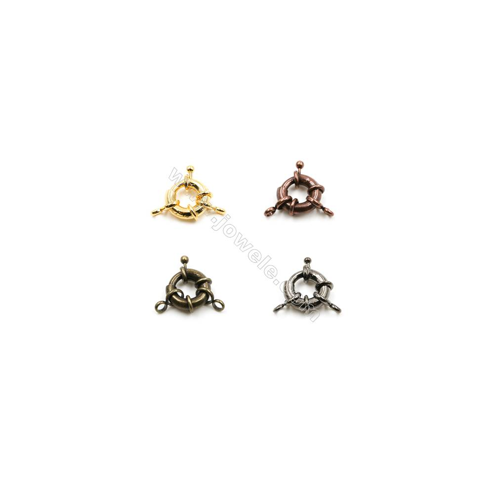 Brass Spring Clasp  Plated  Diameter 19mm   Hole 4mm  80 pcs/pack