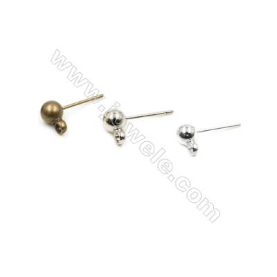 Brass Ear Studs  Plated  Pin Length 10.3mm  Hole 0.7mm  Ball 3mm  150pcs/pack  (gold platimun silver purple bronze bronze)