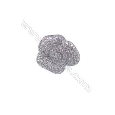 Wholesale sterling silver zircon clip clasps tab clasp for jewelry making-83934 x 1pc 18x20mm