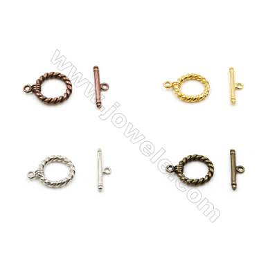 Brass thread toggle clasp  Size 13mm  Hole 1.5mm 100pcs/pack Color(golden white golden silvery bronze purple bronze)