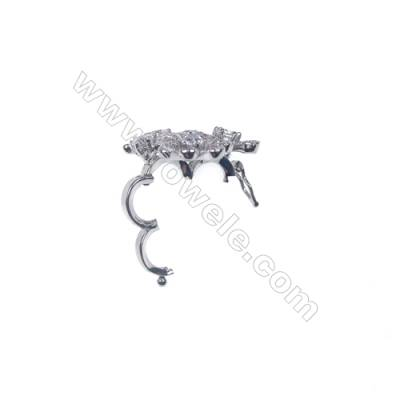 Wholesale sterling silver zircon cllip clasps tab clasp for jewelry making-83918 x 1pc 25x25mm
