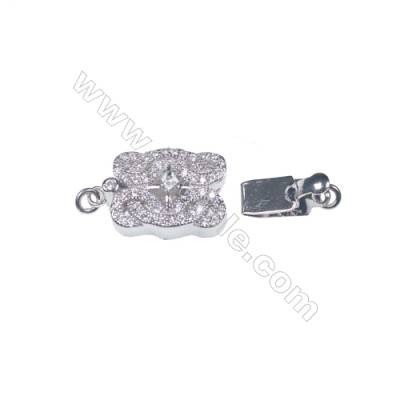 925 sterling silver zircon box clasps tab clasp for jewelry making-83694 x 1pc 6x11x20mm