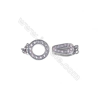 Silver findings clasp for jewelry making platinum plated zircon connector -83803 x 1pc 6x6x13mm