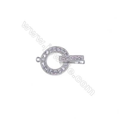 Wholesale 925 silver clamp clasp platinum plated zircon clasp connector-83049 x 1pc 3x5x11mm