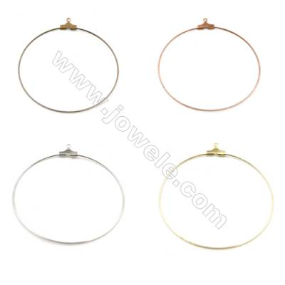 Brass ear hook, Size 48x50mm, Pin 0.7mm, Hole 1.0mm, 300pcs/pack, Color (golden, white golden, silvery, purple bronze, bronze)