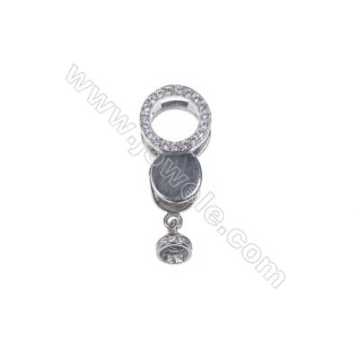 925 Silver findings platinum plated zircon connecting clasp for necklace jewelry making-841164 x 1pc 7x10x20mm