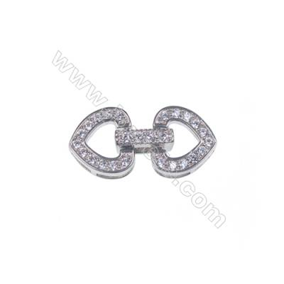 925 Silver snap clasp platinum plated heart zircon connecting clasp-841072 x 1pc 10x10mm
