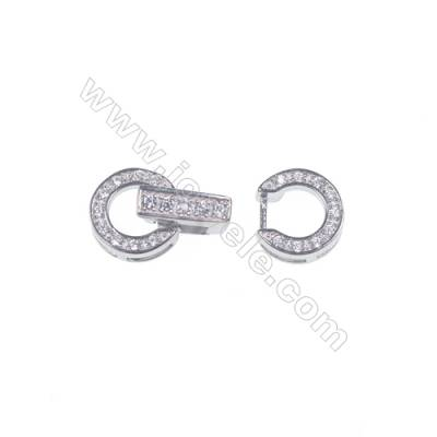 Silver pearl clasp platinum plated round zircon connector-841076 x 1pc 9mm
