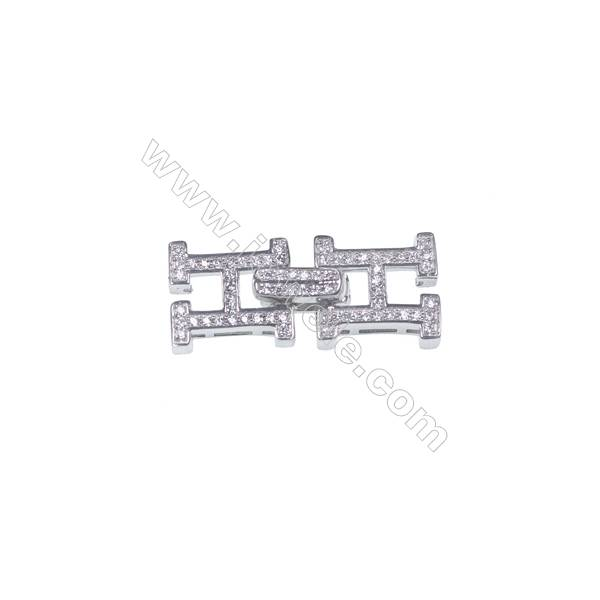 925 Silver platinum plated H shape pearl clasp with zircon jewelry-841085 x 1pc 11x26mm