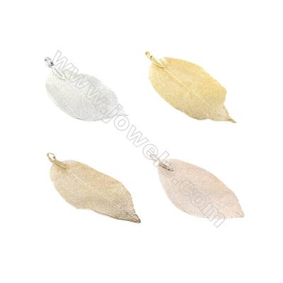 Brass leaf pendant fitting Size 30~40x50-60mm Hole 4x7mm 20pcs/pack  Color ( golden rose golden light blonde silvery)