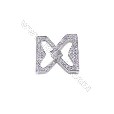 Triangle shape 925 silver platinum plated zircon micro pave pearl clasp for necklace bracelet-841170 x 1pc 11x17mm