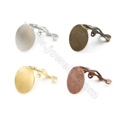 Brass Ear clip  Size 20mm  Thick 9mm Tray 15mm  160pcs/pack  Color (golden white golden silvery bronze purple bronze)