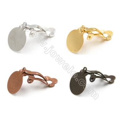 Brass Earring Clip  Size 21mm  Thick 8mm  Tray 11mm  200pcs/pack  Color (golden white golden silvery bronze purple bronze)