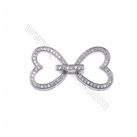 925 silver platinum plated heart shape spacer connector clasp for necklace bracelet making-841075 x 1pc 13x16mm
