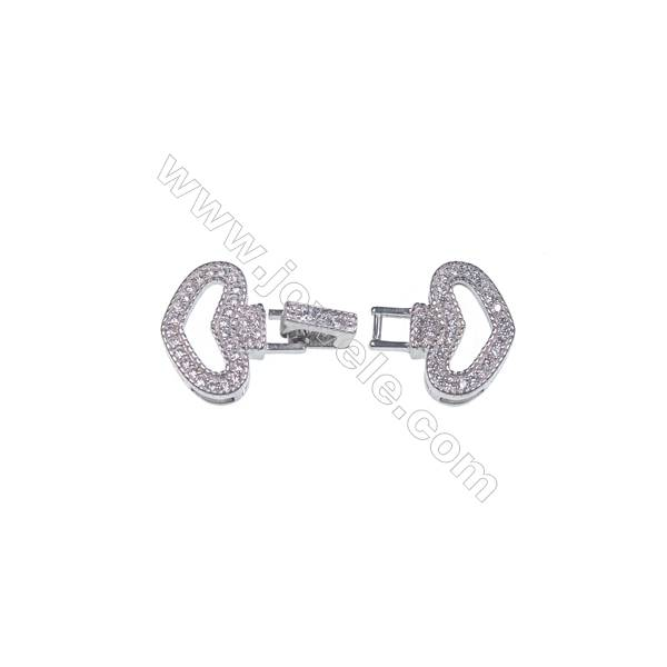 Heart shaped jewelry findings 925 silver platinum plated CZ connector clasp for necklace jewelry making-841112 x 1pc 14x14mm
